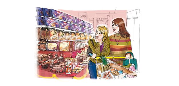 Weihnachtlicher Supermarkteinkauf